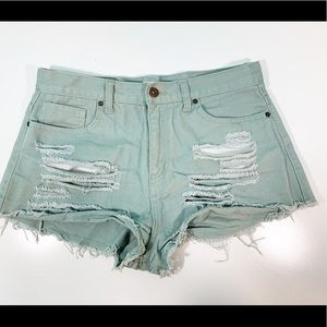 Green Destroyed Booty Shorts 1468